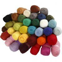 Kardad ull, mixade färger, 35x100 g/ 1 förp.