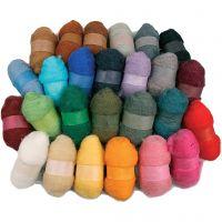 Kardad ull, mixade färger, 26x25 g/ 1 förp.