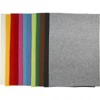 Hobbyfilt, 42x60 cm, tjocklek 3 mm, mixade färger, 12 mix. ark/ 1 förp.
