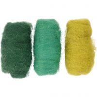 Kardad ull, grön/turkos harmoni, 3x10 g/ 1 förp.