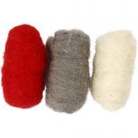 Kardad ull, röd/vit harmoni, 3x10 g/ 1 förp.