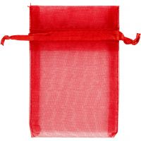 Organzapåsar, stl. 7x10 cm, röd, 10 st./ 1 förp.