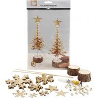 Julgran av läderpapper, tjocklek 0,55 mm, guld, 1 set