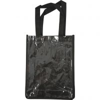Väska med plastfront, stl. 30x23x7 cm, svart, 1 st.