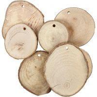Träskivor med hål, Dia. 40-70 mm, Hålstl. 4 mm, tjocklek 5 mm, 25 st./ 1 förp.