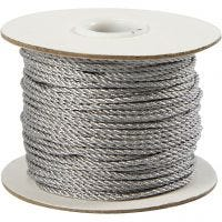 Snöre, tjocklek 2 mm, silver, 50 m/ 1 rl.