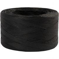 Raffia pappersgarn, B: 7-8 mm, svart, 100 m/ 1 rl.