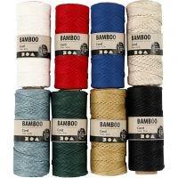 Bambusnöre, tjocklek 1 mm, mixade färger, 8x65 m/ 1 set