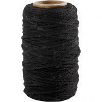 Bomullssnöre, tjocklek 1,1 mm, svart, 50 m/ 1 rl.