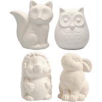 Spardjur, uggla, räv, igelkott, hare, H: 9-10 cm, vit, 4 st./ 1 låda