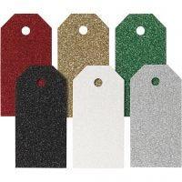 Manillamärken, stl. 5x10 cm, 300 g, mixade färger, 6x15 st./ 1 förp.
