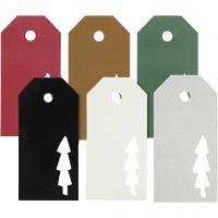 Manillamärken, julgran, stl. 5x10 cm, Innehållet kan variera , 300 g, 6x15 st./ 1 förp.