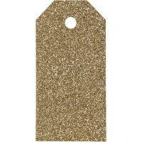 Manillamärken, stl. 5x10 cm, glitter, 300 g, guld, 15 st./ 1 förp.