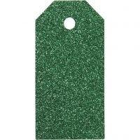 Manillamärken, stl. 5x10 cm, glitter, 300 g, grön, 15 st./ 1 förp.