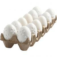 Ägg, präglat mönster, H: 6 cm, vit, 12 st./ 1 förp.