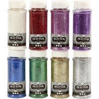 Glitter, mixade färger, 8x110 g/ 1 förp.
