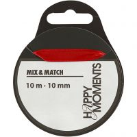 Satinband, B: 10 mm, röd, 10 m/ 1 rl.