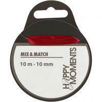 Satinband, B: 10 mm, vinröd, 10 m/ 1 rl.