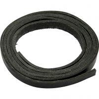 Läderband, B: 10 mm, tjocklek 3 mm, svart, 2 m/ 1 förp.