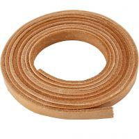 Läderband, B: 10 mm, tjocklek 3 mm, natur, 2 m/ 1 förp.