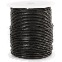 Lädersnöre, tjocklek 2 mm, svart, 50 m/ 1 rl.