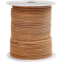 Lädersnöre, tjocklek 2 mm, beige, 50 m/ 1 rl.