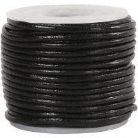 Lädersnöre, tjocklek 1 mm, svart, 10 m/ 1 rl.