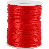 Satinsnöre, tjocklek 2 mm, röd, 50 m/ 1 rl.
