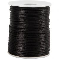Satinsnöre, tjocklek 2 mm, svart, 50 m/ 1 rl.