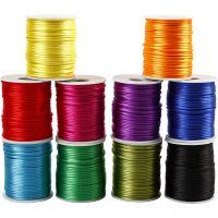 Satinsnöre, tjocklek 2 mm, starka färger, 10x50 m/ 1 förp.