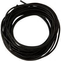 Lädersnöre, tjocklek 2 mm, svart, 4 m/ 1 rl.
