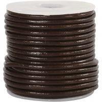 Lädersnöre, tjocklek 2 mm, brun, 10 m/ 1 rl.