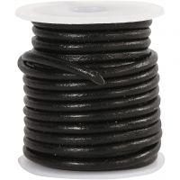 Lädersnöre, tjocklek 3 mm, svart, 5 m/ 1 rl.