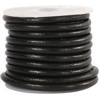 Lädersnöre, tjocklek 4 mm, svart, 5 m/ 1 rl.