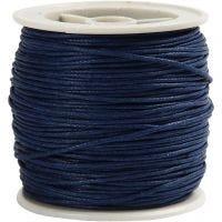 Bomullssnöre, tjocklek 1 mm, blå, 40 m/ 1 rl.