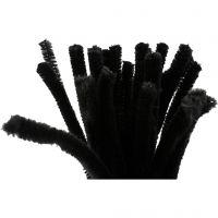 Piprensare, L: 30 cm, tjocklek 9 mm, svart, 25 st./ 1 förp.