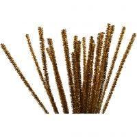 Piprensare, L: 30 cm, tjocklek 6 mm, glitter, guld, 24 st./ 1 förp.