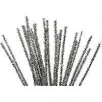 Piprensare, L: 30 cm, tjocklek 6 mm, glitter, silver, 24 st./ 1 förp.