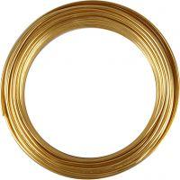 Aluminiumtråd, rund, tjocklek 3 mm, guld, 29 m/ 1 rl.