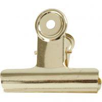 Metallklämma, B: 7,5 cm, mässing, 6 st./ 1 förp.