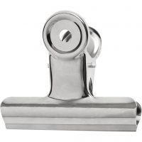 Metallklämma, B: 7,5 cm, silver, 6 st./ 1 förp.