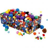 Pompomer, Dia. 5-40 mm, mixade färger, 220 g/ 1 förp.