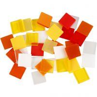 Minimosaik, stl. 10x10 mm, röd/orange harmoni, 25 g/ 1 förp.