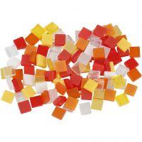 Minimosaik, stl. 5x5 mm, tjocklek 2 mm, röd/orange harmoni, 25 g/ 1 förp.