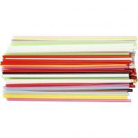 Konstruktionsrör, L: 12,5 cm, Dia. 3 mm, mixade färger, 3200 st./ 1 förp.