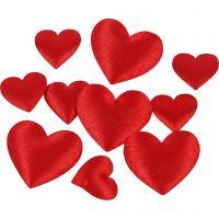 Satinhjärtan, stl. 10+20 mm, tjocklek 1-2 mm, röd, 70 st./ 1 förp.