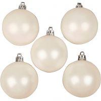 Julgranskulor, Dia. 6 cm, vit, pärlemor, 20 st./ 1 förp.