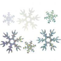 Paljetter, Dia. 25+45 mm, ljusblå, silver, vit, 30 g/ 1 förp.