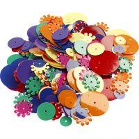 Paljetter, runda, stl. 10-25 mm, mixade färger, 35 g/ 1 förp.