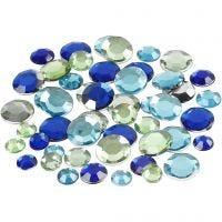 Rhinestones, Runda, stl. 6+9+12 mm, blå/grön harmoni, 360 st./ 1 förp.